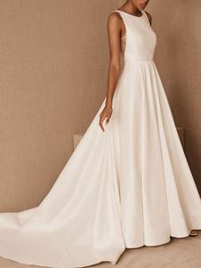 Vintage vestido de noiva jóia pescoço sem mangas cintura natural até o chão sem encosto fosco cetim catedral trem vestido de noiva