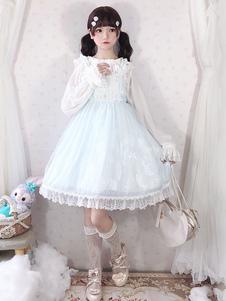 Vestido Sweet Lolita JSK Faldas sin mangas de encaje lolita de encaje celeste sin mangas