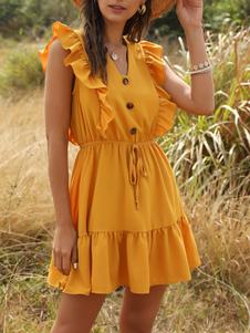 فستان صيفي أصفر برقبة على شكل V فستان كشكش