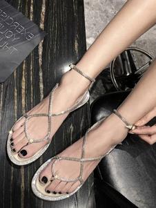 Женские сандалии Стразы Chic открытым носком абрикосовые сандалии на плоской подошве