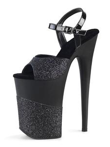 الصنادل عالية الكعب جنسي أسود بو الجلود زقزقة اصبع القدم الراهب الشريط الخنجر أحذية مثير