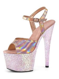 المرأة مثير الصنادل خنجر بو الجلود اللمحة تو الراهب الشريط الذهبي والفضي أحذية مثير