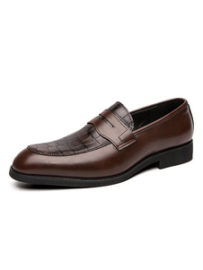 Мужская обувь Loafer Slip-On Пряжка с змеиным принтом и круглым носком из искусственной кожи для повседневного использования