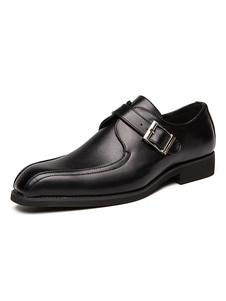 Scarpe eleganti da uomo Eleganti scarpe con fibbia in pelle sintetica con punta quadrata