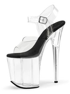 المرأة مثير الصنادل السوداء اللمحة تو منصة أحذية مثير