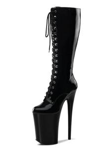 Stivali da donna sexy Punta tonda Cerniera Tacco a spillo Rave Club Stivali sopra il ginocchio neri
