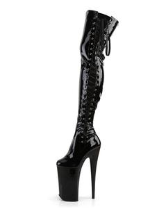 Mulheres botas sexy dedo do pé redondo zipper zipper stiletto calcanhar rave clube preto coxa botas altas