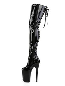 مثير أحذية عالية الكعب جولة اصبع القدم سستة كعب خنجر الهذيان النادي الأسود أحذية عالية الفخذ