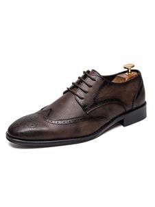 أحذية واللباس للرجل جودة جولة اصبع القدم الدانتيل يصل أحذية بو الجلود