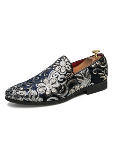 Туфли Loafer для мужчин Slip-On Sequins Artwork Toe Полиэстерная обувь