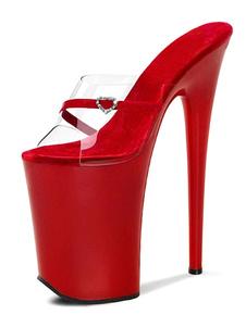 الصنادل مثير للمرأة الأحمر بو الجلود اللمحة تو 9.1 أحذية مثير