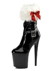 Stivali da donna sexy punta tonda cerniera cerniera tacco a spillo rave club stivaletti neri