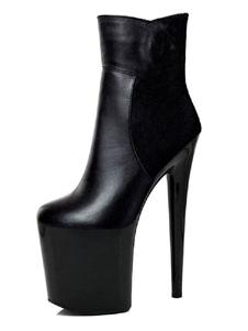 أحذية عالية الكعب مثير جولة اصبع القدم سستة كعب خنجر الهذيان أحذية الكاحل الأسود عالية