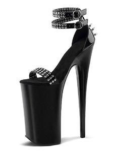 المرأة مثير الصنادل الأسود بو الجلود اللمحة تو أحذية الراهب الشريط مثير
