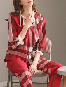 Loungewear из двух комплектов плед снаряжение пижамы для женщин