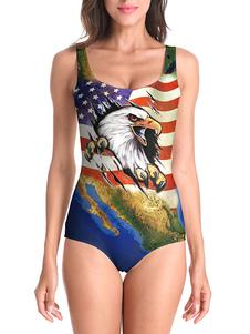 Trajes de baño de una pieza 4 de julio Día de la Independencia Impreso Trajes de baño de playa elástica