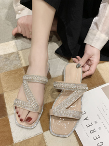 Шлепанцы Ecru White PU Кожаные открытые носки Босоножки Chic Slides