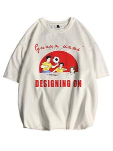 Camisetas Camiseta holgada de cuello redondo con manga corta y camisa de hombre con estampado frontal de dibujos animados