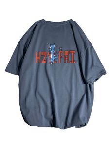 Camisetas de cuello redondo holgadas con mangas cortas y una camisa de gran tamaño para hombre con estampado frontal de leves