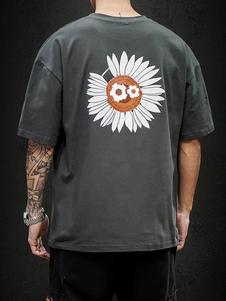 Camisetas de cuello redondo holgadas con manga corta y estampado de dibujos animados en la espalda