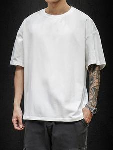 Camisetas Cuello redondo holgado Camiseta de manga corta y lema con estampado en la espalda Camisa para hombre
