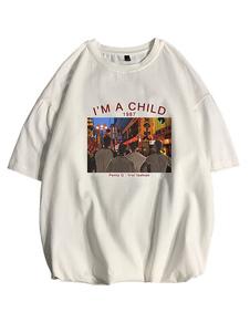 Camisetas de cuello redondo holgadas con mangas cortas y camisa para hombre con estampado frontal de dibujos animados