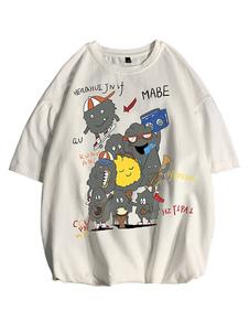 Camisetas holgadas Camiseta con cuello redondo Mangas cortas Personajes de dibujos animados Imprimir Camisa para hombre de gran tamaño