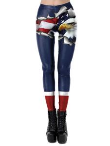 4 de julio Leggings Día de la Independencia Impreso Pantalones de mujer elásticos