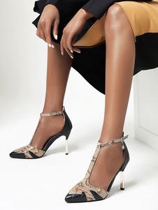 Sandali da donna Stiletto Tacco Fibbia Sandali chic Slip-On Punta a punta Scarpe vintage nere