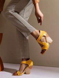 Sandali da donna con zeppa, catene con tacco, eleganti scarpe vintage aperte con punta aperta