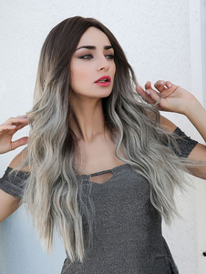 Women Long Wig Ombre Curly Rayon Elegant Highlighting Hair Long Synthetic Wigs