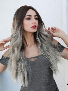 Parrucca lunga da donna Ombre riccia in rayon Elegante parrucche sintetiche per capelli chiari
