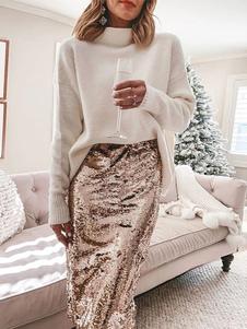 Falda de lentejuelas de mujer Falda lápiz sexy de cintura alta