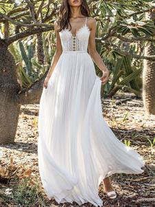 Maxi branco vestidos sem mangas de renda mulheres sem encosto vestido