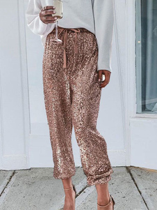 Pantaloni con paillettes Pantaloni a vita alta con coulisse