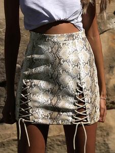 Mini falda de encaje hasta estampado de serpiente Mujeres ajustado de la falda