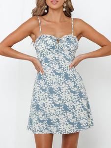 Summer Dress Ditsy stampato floreale Beach vestito delle donne slittamento Dress