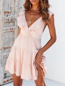 اللباس الصيف الكشكشة عارية الذراعين النساء اللباس شاطئ
