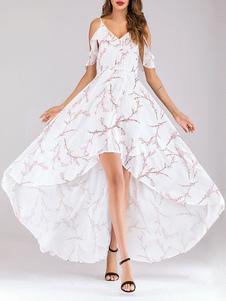الأزهار فساتين ماكسي عارية الذراعين الشيفون الباردة الكتف كشكش ارتفاع منخفض فستان الصيف
