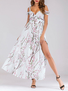 Vestidos Maxi Florais Chiffon Branco Split Ombro Frio Vestido de Verão