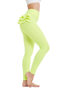 Neon Yoga Pantalones Ruffles Yoga Leggings