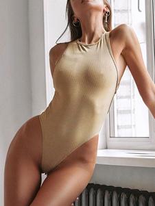 المرأة ارتداءها بلا أكمام مثير الملابس الداخلية بلون خالص