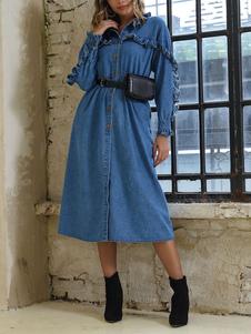 Джинсовые платья макси с длинным рукавом оборки Кнопка Одеть