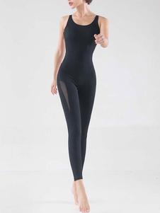 Abbigliamento da yoga Activewear Abbigliamento da allenamento sexy nero Senza maniche elastico