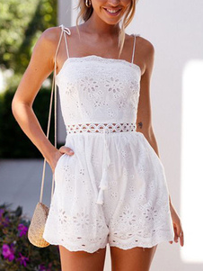 Romper branco ilhó bordado tiras pescoço sem mangas recortada sem encosto reta verão macacão
