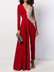 Jumspuit vestido com decote em v mangas compridas uma peça roupa
