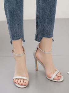 Sandali da donna Sandali con cinturino alla caviglia con tacco a spillo in argento con tacco a spillo chic