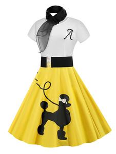ثوب خمر 1950s امرأة بأكمام قصيرة الرقبة جوهرة سوينغ اللباس مع وشاح
