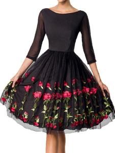 ثوب خمر 1950s امرأة سوداء بأكمام زهرة روز سوينغ اللباس