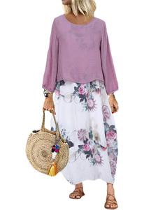 Vestidos Maxi de tamanho grande com estampa floral Jewel Neck Shift Dress